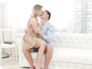Blonde teen Via Lasciva cums while getting ass fucked hard