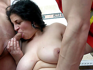 Mature amateur BBW pounded by two horny guys at an office