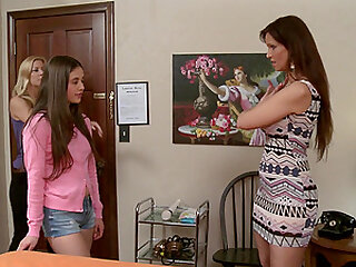 Mature lesbian Syren De Mer gives teen babe Lucy Doll an orgasm