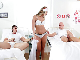 Slutty nurse Jenny Simons double penetrated by her patients