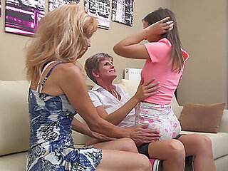 Carla S. and her mature girlfriend add a blonde teen to their sex life