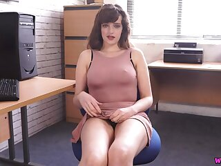 Nipples poke through the tight dress of a secretary