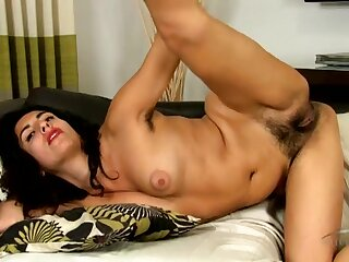 Pubic and armpit hair is hot on the brunette milf