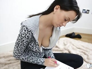 Perfect downblouse view of a babe in a hoodie