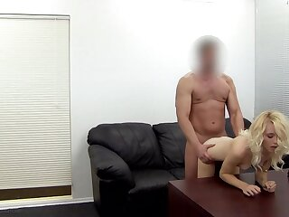 Insanely skinny blonde amateur does her first ever anal scene