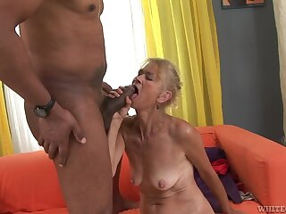 Granny goes down on his big black cock