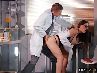 Nasty doctor slut fucked from behind by a huge cock