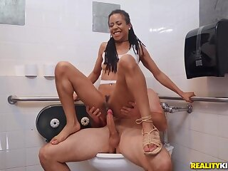 Giving black pussy his big white cock in the bathroom