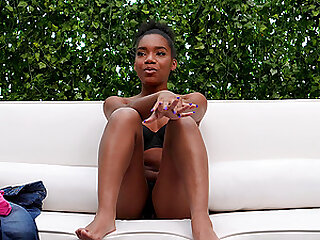 chocolate girl Mikka adores to jump on stranger's hard cock on the casting