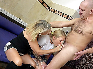 Kristina First and Martina Vachalcova get their pussies pounded by old guy