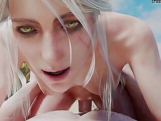 The Witcher enjoying deep cunt penetration from massive cocks in different positions