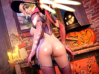Naughty big boobs blonde super hero from Overwatch called Mercy gets to heal dicks