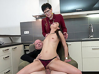 young girl teaches all about blowjob and fuck with her older friends