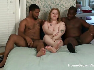 Chubby amateur gets stuffed by two big black cocks