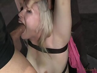 Guys take out her ball gag to fuck her pretty face