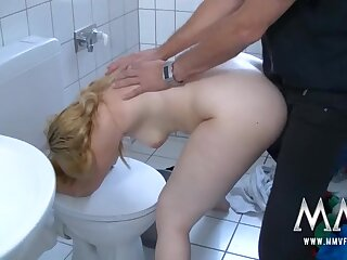 Big ass cutie bent over the toilet and boned