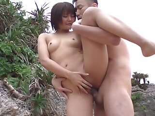 Beach threesome with a naked Japanese beauty fucked hard