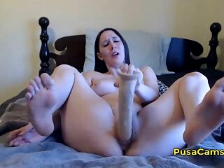 Chubby Curvy Teen 16 Inch Big Dildo Masturbation EASY