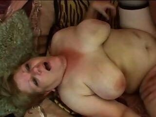 Horny granny riding young dude