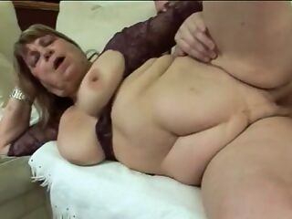 Fat granny getting fucked by young man after sucking his dick