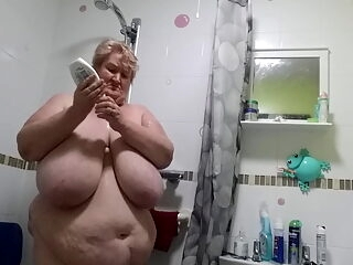 Miss Tittys stripping for a shower