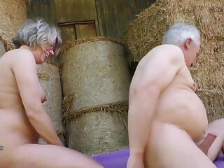 Amateur fucking elderly farmers next to cows