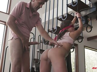 Experienced old fart fucks tied up and blind folded young paramour Zoe Bloom