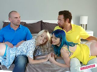 Two stunning lesbian girls swap their stepdads for crazy foursome sex