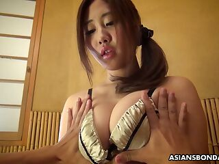 Kinky dude is toying pussy of plump Japanese girlfriend in cuffs Yui Shiina