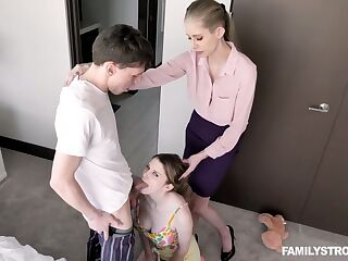 Experienced stepmom teaches Bunny Colby how to gives a blowjob and ride a cock