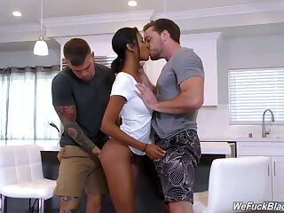 Beautiful ebony babe with juicy butt Nia Nacci gets fucked by two white studs