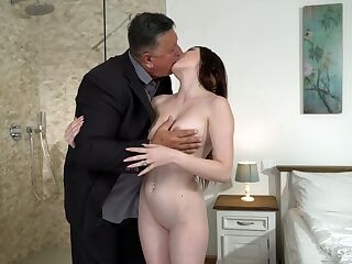 Cute young brunette Mia Evans is eager for crazy sex with experienced old stepdad