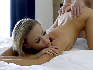 Bald headed dude fucks creampied pussy of slender blond babe Emma Hix