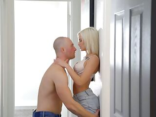 Lovely skinny blonde Kiara Cole gets her pussy slammed by horny bald headed BF