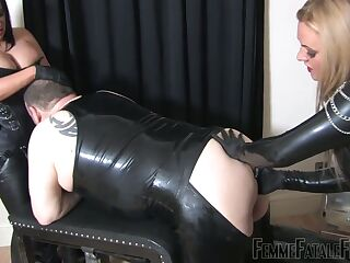 Two cruel bitches in latex fuck fat submissive dude in ass and mouth
