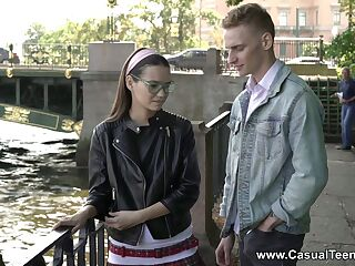Coy student in glasses Pinky Breeze allows to cum on her face on the first date