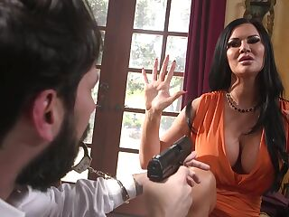 Robber in mask fucks tied up brunette babe with huge boobs Jasmine Jae