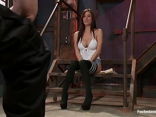 Dude tie sup and fucks tattooed bitch Gia DiMarco in the BDSM room