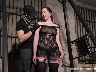 Submissive whore Alora Lux does naked squats in the BDSM gym