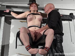 Chubby ginger bitch Vicki Valkyrie gets her pussy finger fucked and punished