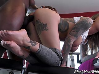 Black jock fucks anal hole and pussy of busty PAWG Karma Rx
