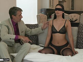 Sexy young wife Andreina Deluxe is making love with her old insatiable husband