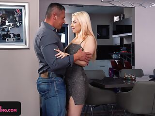Seductive babe Roxy Risingstar gives a great blowjob and rimjob after party
