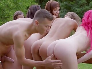 ULTRAFILMS LEGENDARY Five horny girls hit on a dude in a public park and turn it into a hot orgy.