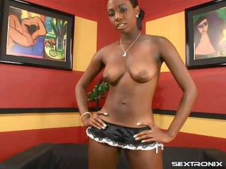 Massive ebony dick fucks her perfect black pussy balls deep
