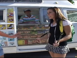 Coed in her school uniform gets a Popsicle and dick from the ice cream man