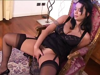 Slut in black satin lingerie double penetrated erotically