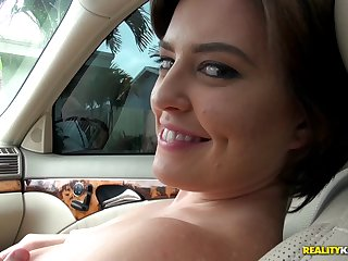 Curvy cutie gets in the car to pleasure your dick in POV