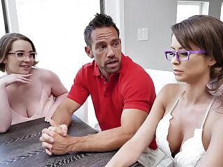 Grownup adopted daughter Anna Blaze has sex with Emily Addison and Johnny Castle