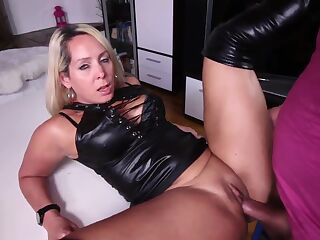 Annabel leather creampie fuck